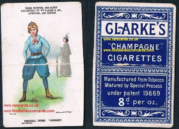 1900 Clarke & Son cigarette card football terms Forward women's soccer